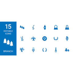 15 branch icons vector