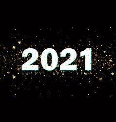 2020 happy new year black background with golden vector image