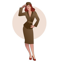 army girl in retro style wearing soldiers uniform vector image