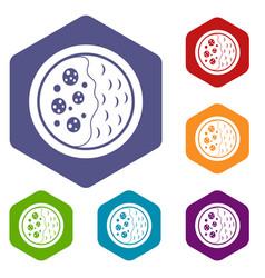 Asian soup icons set hexagon vector