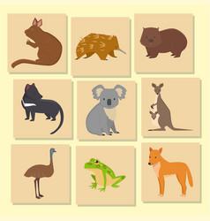 australia wild animals card cartoon popular nature vector image