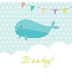 Baby boy shower card with cute whale and flags vector image