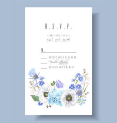 Blue rsvp card vector