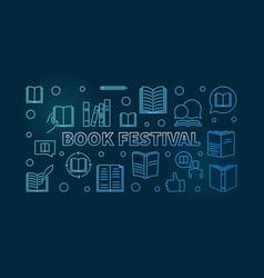 book festival blue banner books horizontal vector image