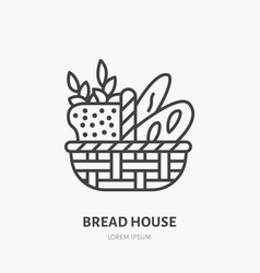 Bread basket with loaf baguette and ears of wheat vector