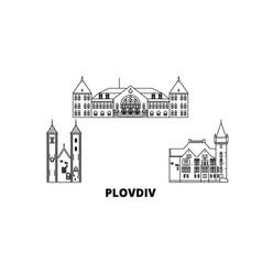 Bulgaria plovdiv line travel skyline set vector