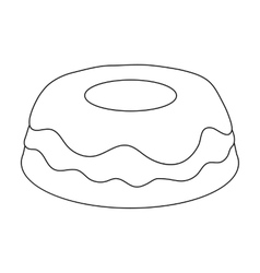 Cake icon in outline style isolated on white vector