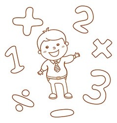 Cartoon style math learning game Mathematical vector image