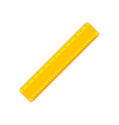 cartoon yellow ruler flat icon vector image