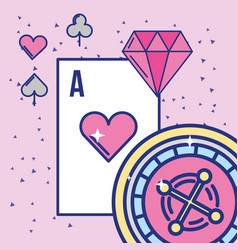 casino and gambling roulette ace card and diamond vector image