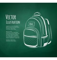 Chalkboard drawing school bag vector