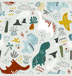 childish seamless dino pattern creative hand vector image
