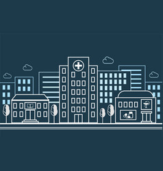 city street with a hospital pharmacy and school vector image