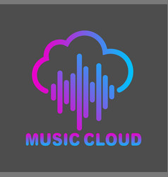 cloud music logo isolated on white vector image