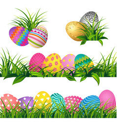 colorful eggs and spring green grass borders set vector image