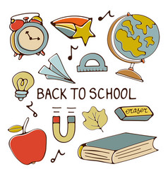Colorful hand drawn back to school vector