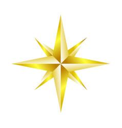 compass rose navigation golden star symbol design vector image