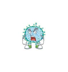 Coronavirus illness mascot showing angry face vector