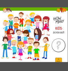 Counting cartoon kids educational game vector