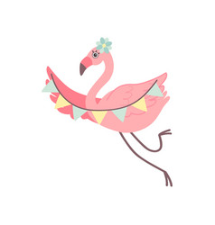 cute flamingo with party flags beautiful exotic vector image