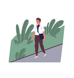 Cute smiling young man going to work happy male vector