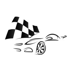 Design of car and checkered flag vector