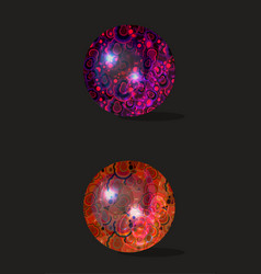 Dichroic glass spheres with malachite texture vector