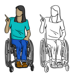 disabled teen woman with long hair pointing vector image