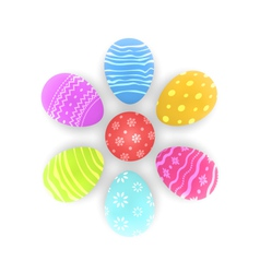 Easter set painted ornamental eggs with shadows vector