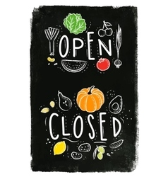 Eco signboard open close chalk vector