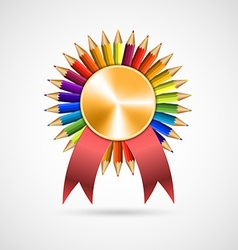 Education pencil award rosette with ribbon vector image