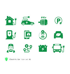 electro car icons collection vector image