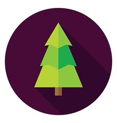 Flat Design Christmas Tree Circle Icon vector image