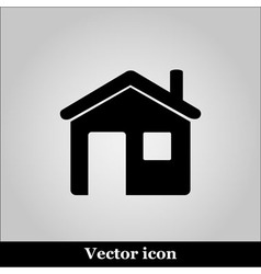 Flat home icon on grey background vector image