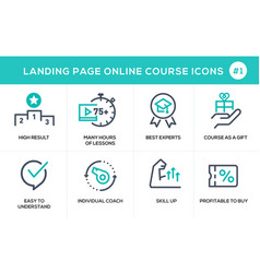 Flat line design concept icons online e-learning vector