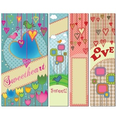 Four colorful love themed banners in standard vector image vector image