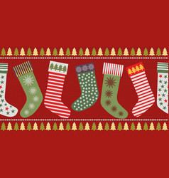 Funky christmas stocking border design in vector