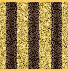 Glitter and leopard fashion striped seamless vector