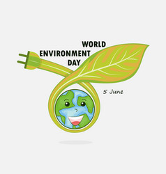 Globe and leaf sign world environment day concept vector