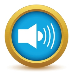 Gold add sound icon vector