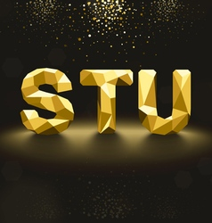 Golden lowpoly font from s to u vector