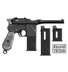 graphic black and white old pistol with ammo clip vector image
