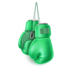 Green pair boxing glove lace realistic vector