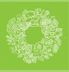 Green tea circle doodles sketched green tea vector