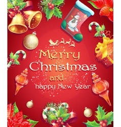 Greeting card with Christmas and New Year with the vector image
