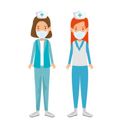 Group nurse professionals using face mask isolated vector
