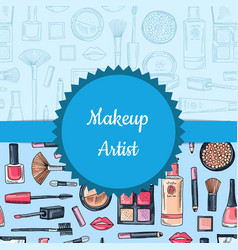 hand drawn makeup and skincare vector image