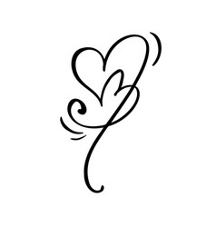 hand drawn two heart love sign romantic vector image