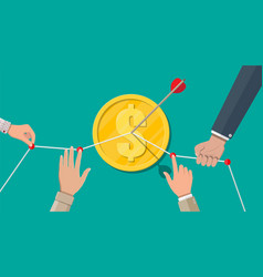 hand of businessman pointing to arrow from coin vector image