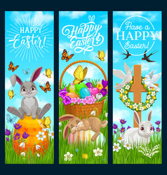 happy easter banners with cartoon bunnies vector image